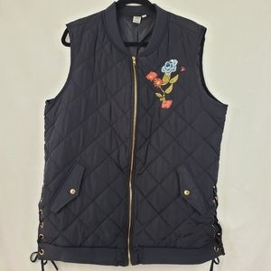 Artisan NY navy quilted/floralembroidered vest, 2X
